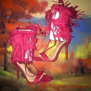 Wild Diva   Fringe Fuchsia Sandals